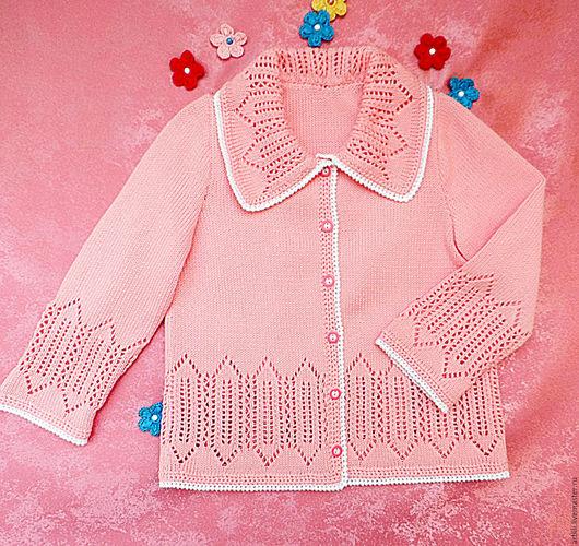 """Одежда для девочек, ручной работы. Ярмарка Мастеров - ручная работа. Купить Вязаная детская кофта на пуговицах  """"Розовая."""". Handmade."""