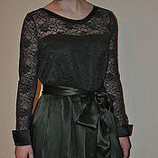 Одежда ручной работы. Ярмарка Мастеров - ручная работа Темно-зеленое платье с пышной юбкой. Handmade.