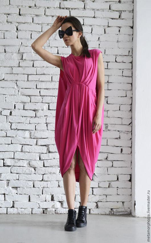 Платья ручной работы. Ярмарка Мастеров - ручная работа. Купить Розовое платье Pink Drape. Handmade. Розовый, Платье нарядное