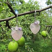 Украшения handmade. Livemaster - original item Heart earrings rose quartz. Handmade.