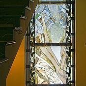 Для дома и интерьера ручной работы. Ярмарка Мастеров - ручная работа Витраж на окно лестницы в стиле арт-деко-Перламутровый каскад.. Handmade.