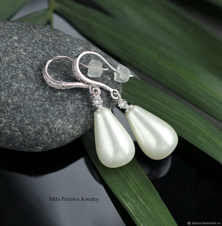Серебряные серьги с белым жемчугом майорка_Верона