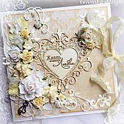 """Свадебный салон ручной работы. Ярмарка Мастеров - ручная работа Свадебная открытка """"Жизнь начинается с любви"""". Handmade."""