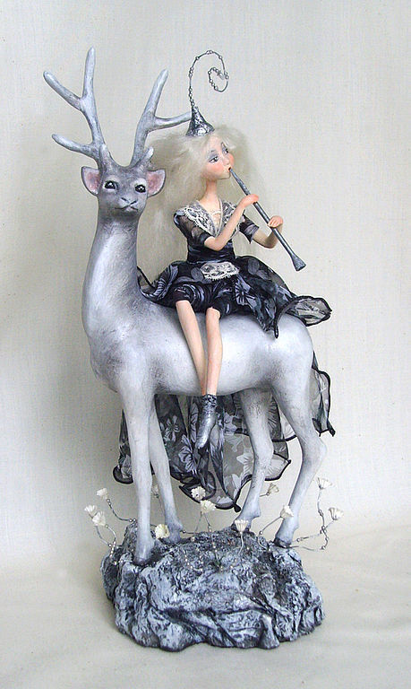 Коллекционные куклы ручной работы. Ярмарка Мастеров - ручная работа. Купить Лунная мелодия.. Handmade. Олень, чёрно-белый