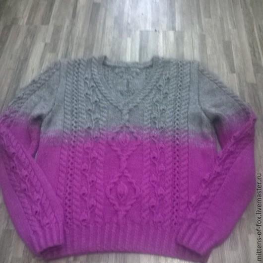 Яркий свитер/джемпер/пуловер с узором листики и косами, невероятно мягкий и теплый, из шерсти козочки и пуха норки. Стоимость 6000 руб. Для примера.