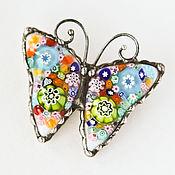 Бабочка Мурано. Брошь. Авторское ,муранское стекло,металл