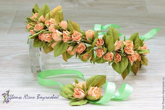 Диадемы, обручи ручной работы. Ярмарка Мастеров - ручная работа. Купить Венок из персиковых роз.. Handmade. Венок из цветов