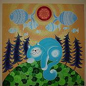 """Картины и панно ручной работы. Ярмарка Мастеров - ручная работа Картина """" Мечты голубого кота"""". Handmade."""