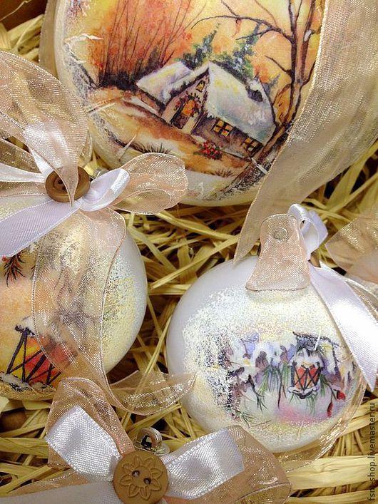 """Новый год 2017 ручной работы. Ярмарка Мастеров - ручная работа. Купить Набор елочных шаров """"Зимняя акварель"""". Handmade. Белый"""