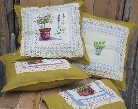 Текстиль, ковры ручной работы. Ярмарка Мастеров - ручная работа. Купить Интерьерные подушки в стиле Прованс. Handmade. Оливковый