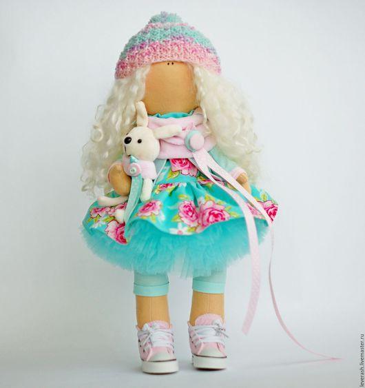 Коллекционные куклы ручной работы. Ярмарка Мастеров - ручная работа. Купить Куколка. Handmade. Бирюзовый, подарок девушке, хлопок тильда