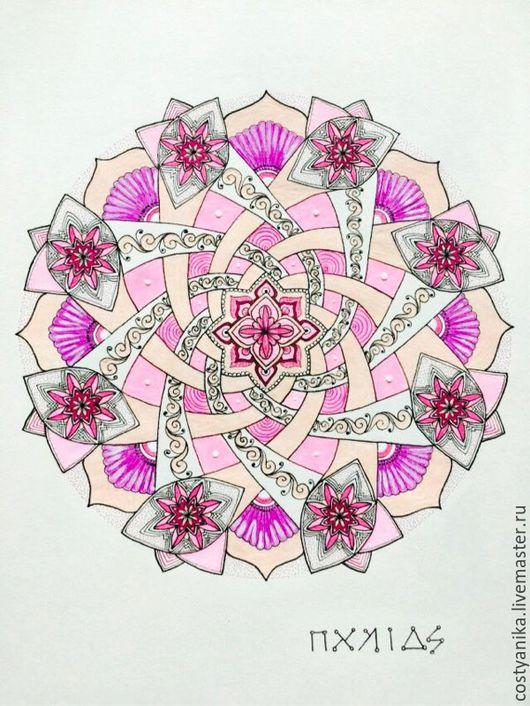 Медитация ручной работы. Ярмарка Мастеров - ручная работа. Купить Мандала Архангела Чамуила. Handmade. Розовый, Архангел, ангел, ангелы