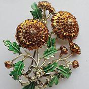 Винтаж ручной работы. Ярмарка Мастеров - ручная работа EXQUISITE Хризантема (ноябрь) большая золотая 1950-е Англия. Handmade.