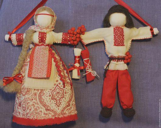 """Народные куклы ручной работы. Ярмарка Мастеров - ручная работа. Купить Кукла-оберег """"Неразлучники"""". Handmade. Ярко-красный, неразлучники"""