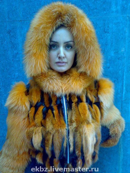 курточка из меха рыжей лисы,на трикотажных резинках,на молнии.