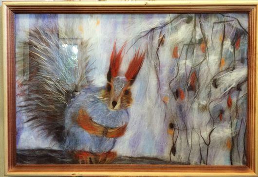 """Пейзаж ручной работы. Ярмарка Мастеров - ручная работа. Купить """"Белка"""". Картина из шерсти мериноса.. Handmade. Картина в подарок"""