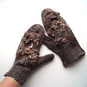 Аксессуары handmade. Livemaster - original item Felted mittens Wild with fleece merino. Handmade.