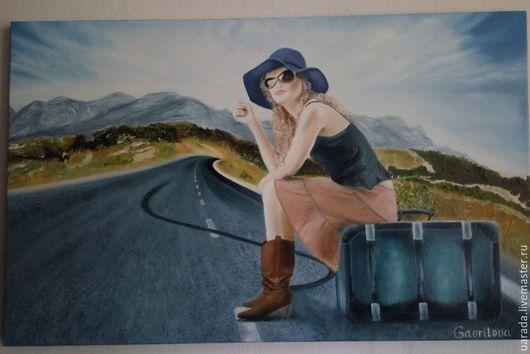 """Люди, ручной работы. Ярмарка Мастеров - ручная работа. Купить """"Дорога в будущее""""- картина маслом.. Handmade. Синий, шляпка"""