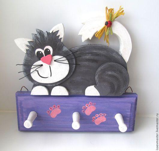 Детская ручной работы. Ярмарка Мастеров - ручная работа. Купить Вешалка-котик. Handmade. Разноцветный, вешалка в детскую, фанера