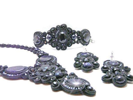 Jewelry Sets handmade. Livemaster - handmade. Buy Soutache kit the Night before Christmas.Soutache jewelry, soutache