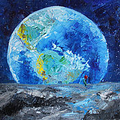 Картины и панно handmade. Livemaster - original item Oil painting on a stretcher 50H60 cm author`s View from the Moon. Handmade.