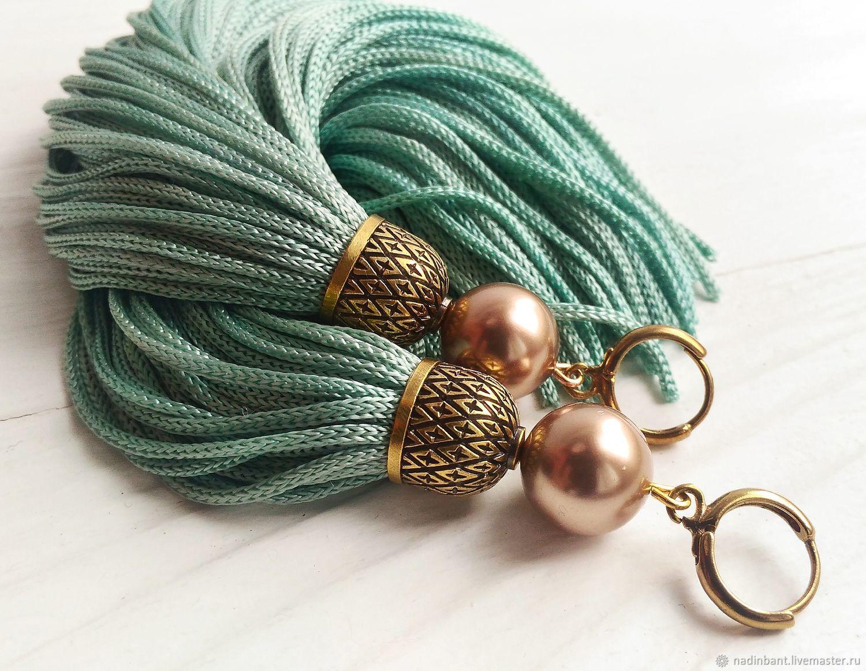 Earring of the brush 'Vintage' fringe, Tassel earrings, St. Petersburg,  Фото №1