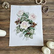 Картины и панно handmade. Livemaster - original item Cross Stitch Tea Roses. Handmade.