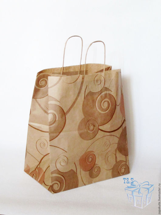 Упаковка ручной работы. Ярмарка Мастеров - ручная работа. Купить Крафт пакет, 32х37х20, с кручеными ручками пакеты, широкий, с рисунком. Handmade.