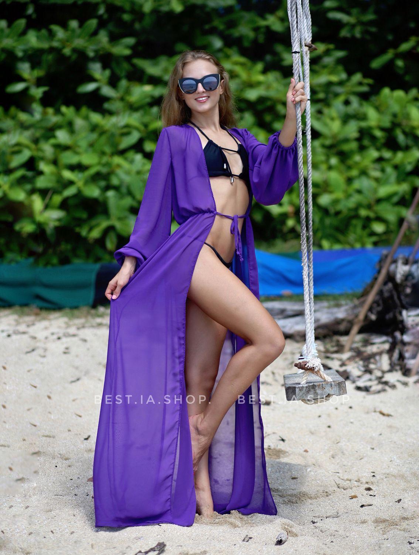 55ab84375b0 Пляжные туники ручной работы. Ярмарка Мастеров - ручная работа. Купить  Фиолетовая пляжная туника.