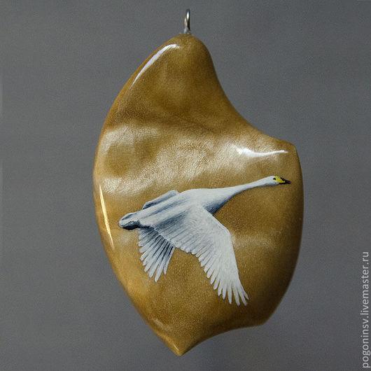 """Кулоны, подвески ручной работы. Ярмарка Мастеров - ручная работа. Купить Кулон """"Лебедь"""". Handmade. Березовый кап, свель, дерево"""