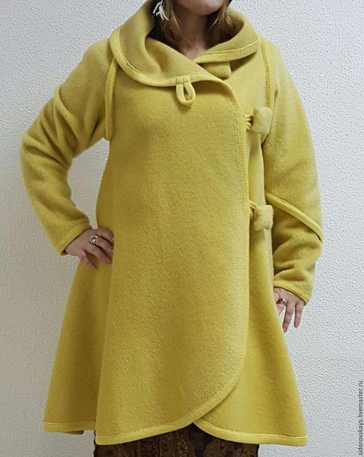 """Верхняя одежда ручной работы. Ярмарка Мастеров - ручная работа. Купить Авторское пальто-трансформер """"Кокон"""". Handmade. Желтый"""