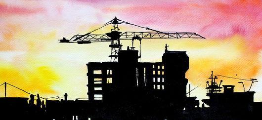 """Город ручной работы. Ярмарка Мастеров - ручная работа. Купить картина """"Город на закате"""". Handmade. Городской пейзаж, акварель, тушь"""