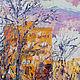 Купить картину маслом в интерьер Картина маслом город Москва Картина морозное утро Купить картину маслом на холсте Солнечная картина