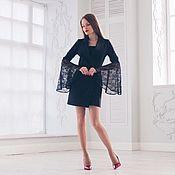 Одежда handmade. Livemaster - original item Dress-jacket with satin lapels and sleeves of lace. Handmade.