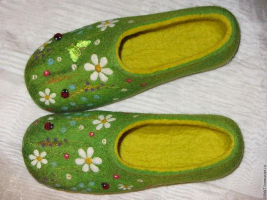 """Обувь ручной работы. Ярмарка Мастеров - ручная работа. Купить Валяные тапочки """"Летнее настроение"""" - 2. Handmade. Комбинированный"""