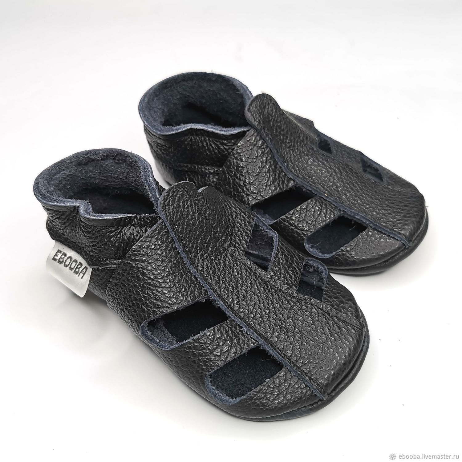 Black baby sandals soft soled / Genuine leather baby booties, Babys bootees, Kharkiv,  Фото №1