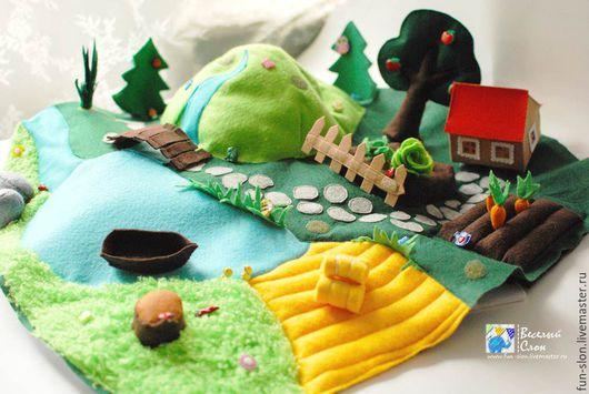 Развивающие игрушки ручной работы. Ярмарка Мастеров - ручная работа. Купить Развивающий коврик из фетра- набор для шитья сделай сам. Handmade.