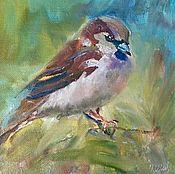 Картины и панно handmade. Livemaster - original item Oil painting. birds. Sparrow. Handmade.