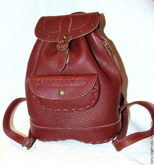 Рюкзаки ручной работы. Ярмарка Мастеров - ручная работа. Купить Рюкзак кожаный красно-коричневый. Handmade. Рюкзак кожаный