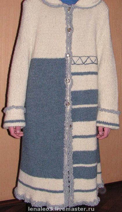 Верхняя одежда ручной работы. Ярмарка Мастеров - ручная работа. Купить Пальто из 100%-ной шерсти, вязаное ,с капюшоном. Handmade.