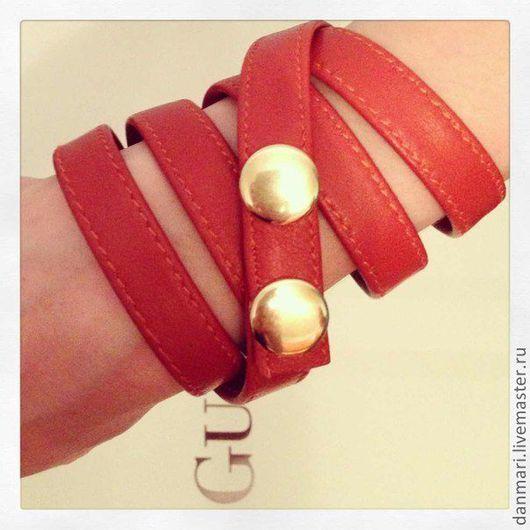 """Браслеты ручной работы. Ярмарка Мастеров - ручная работа. Купить Кожаный браслет-намотка """"Коралл"""". Handmade. Рыжий, браслет"""
