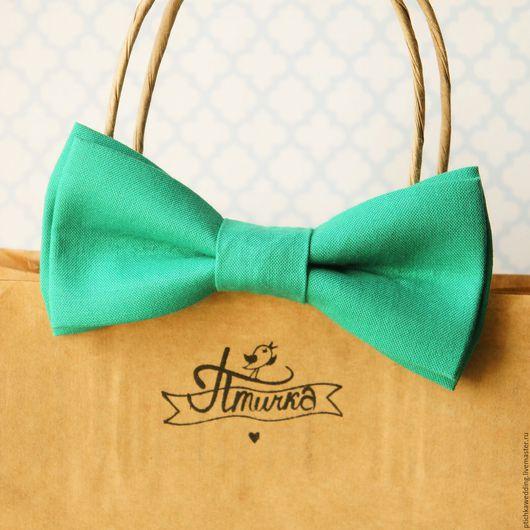 Галстуки, бабочки ручной работы. Ярмарка Мастеров - ручная работа. Купить Изумрудно-зеленая бабочка из хлопка. Handmade. Морская волна