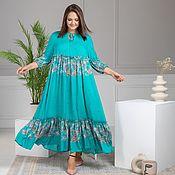 Одежда handmade. Livemaster - original item Boho dress made of viscose turquoise with sequins. Handmade.