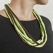 Украшения handmade. Livemaster - original item A light green-brown knitting yarn necklace. Handmade.