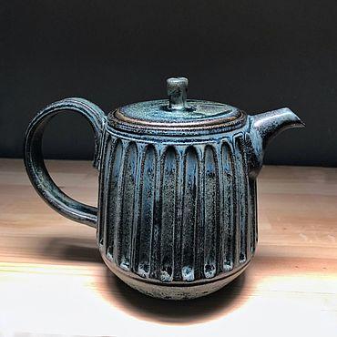Посуда ручной работы. Ярмарка Мастеров - ручная работа Чайник с каннелюрами.. Handmade.