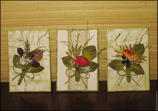 """Поздравительные картинки, тарелочки ручной работы. Ярмарка Мастеров - ручная работа. Купить Открытка-картинка """"Букетик цветов"""". Handmade. Комбинированный"""
