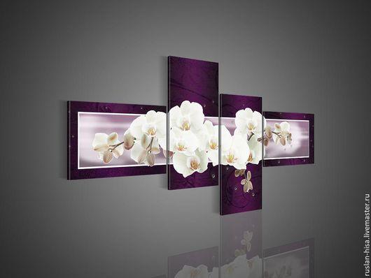 Город ручной работы. Ярмарка Мастеров - ручная работа. Купить Орхидеи белые. Handmade. Тёмно-фиолетовый, картина для интерьера