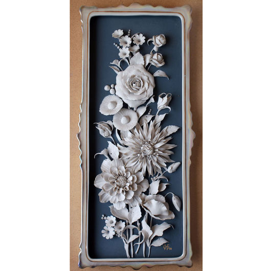 """Картины цветов ручной работы. Ярмарка Мастеров - ручная работа. Купить Декоративный пласт """"Букет"""". Handmade. Тёмно-синий, роза"""