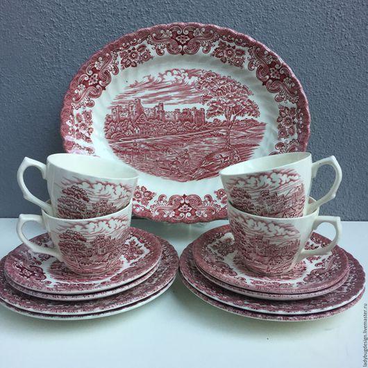Винтажная посуда. Ярмарка Мастеров - ручная работа. Купить Чайный сервиз 4 персоны, Англия. Handmade. Комбинированный, сахарница