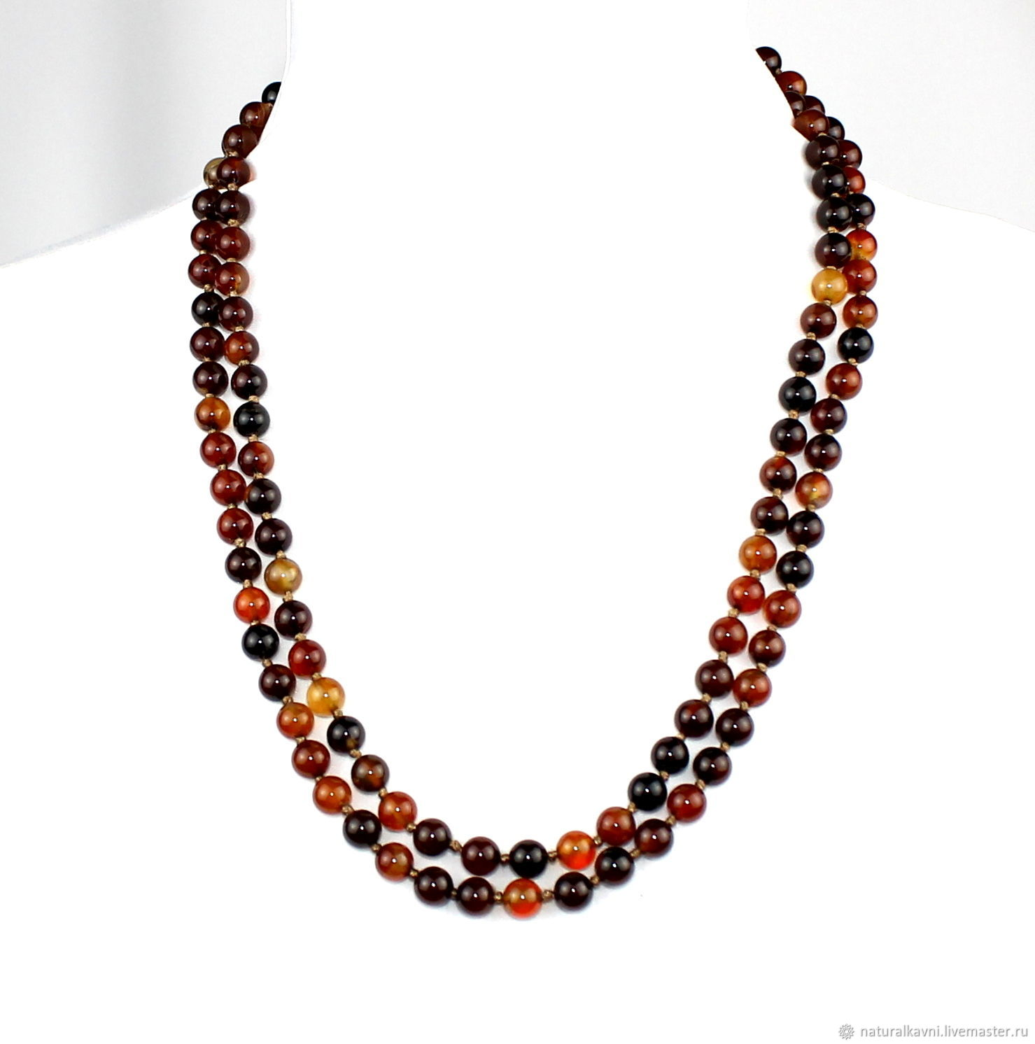 Long necklace of natural onyx, Beads2, Moscow,  Фото №1